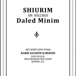 EBOOK Shiurim on Hilchos Daled Minim – RABBI NACHUM SCHEINER Ebook (English)
